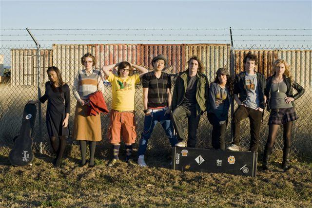 Gaelan Connell, Ryan Donowho, Vanessa Hudgens, Elvy, Aly Michalka, Charlie Saxton, Tim Jo, and Lisa Chung in Bandslam (2009)
