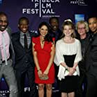 """(L-R) Actor Idris Elba, director Thomas Ikimi, actress Monique Gabriela Curnen, actor Eamonn Walker, producer Arabella Page Croft, composer Mark Kilian and actor attends the premiere Of """"Legacy"""" during the 2010 Tribeca Film Festival at Village E"""