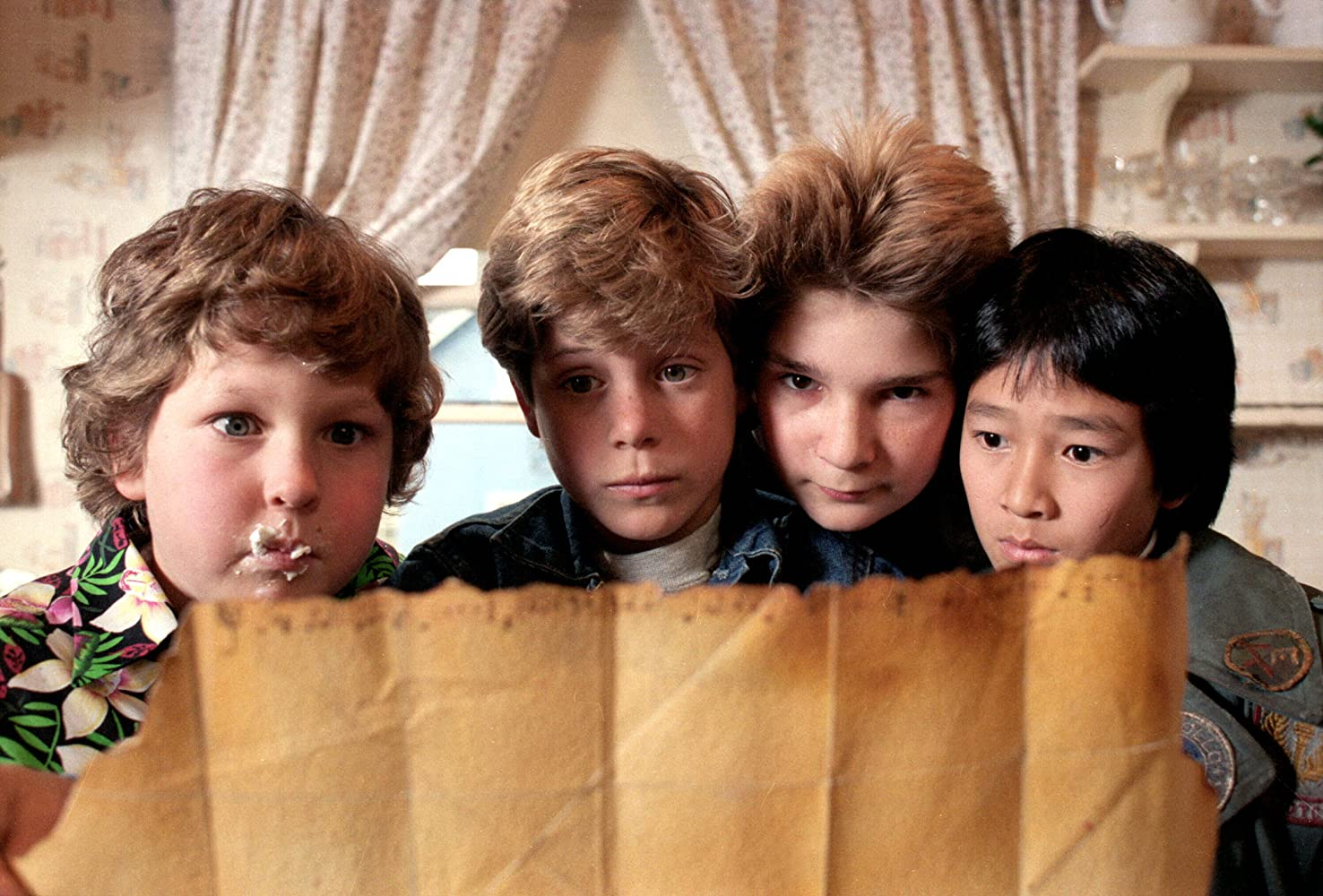 Sean Astin, Corey Feldman, Jeff Cohen, and Ke Huy Quan in The Goonies (1985)