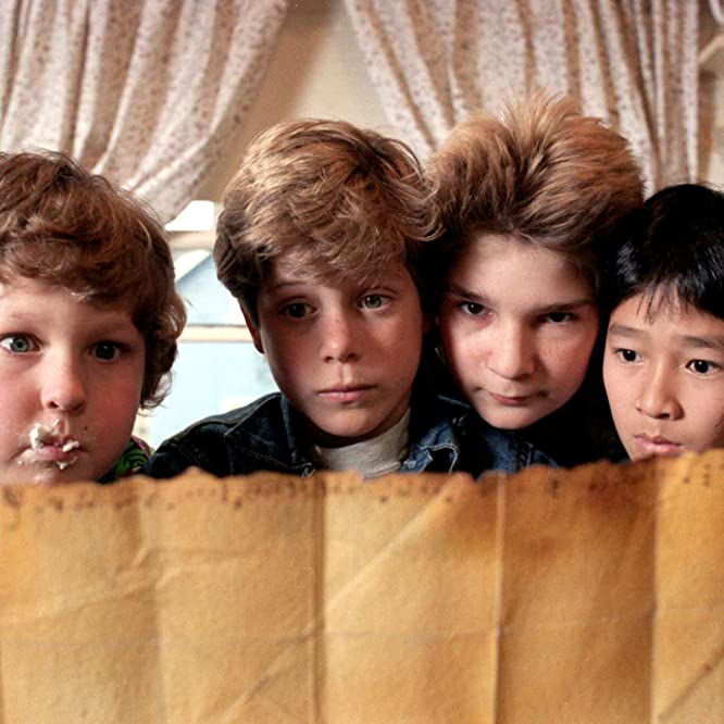 Sean Astin, Corey Feldman, Jeff Cohen, and Jonathan Ke Quan in The Goonies (1985)