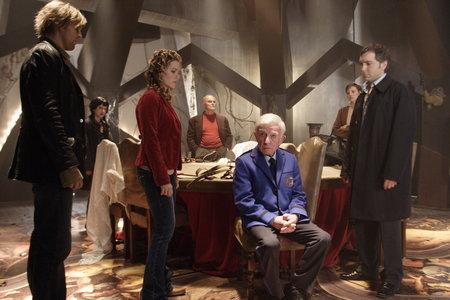 Henry Gibson, Jayce Bartok, Lara Harris, Scott Lowell, Michèle-Barbara Pelletier, John Saxon, and Rachel Veltri in Trapped Ashes (2006)