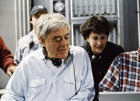 (Left to right) Director Richard Donner and producer Lauren Shuler Donner on the set.