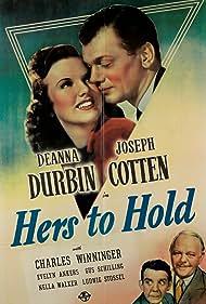 Joseph Cotten, Deanna Durbin, Gus Schilling, and Charles Winninger in Hers to Hold (1943)