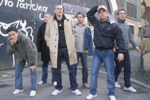 Elijah Wood, Charlie Hunnam, Kieran Bew, and Rafe Spall in Hooligans (2005)