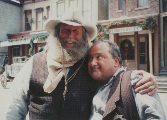 J. Michael Oliva and Ron Carey on the set