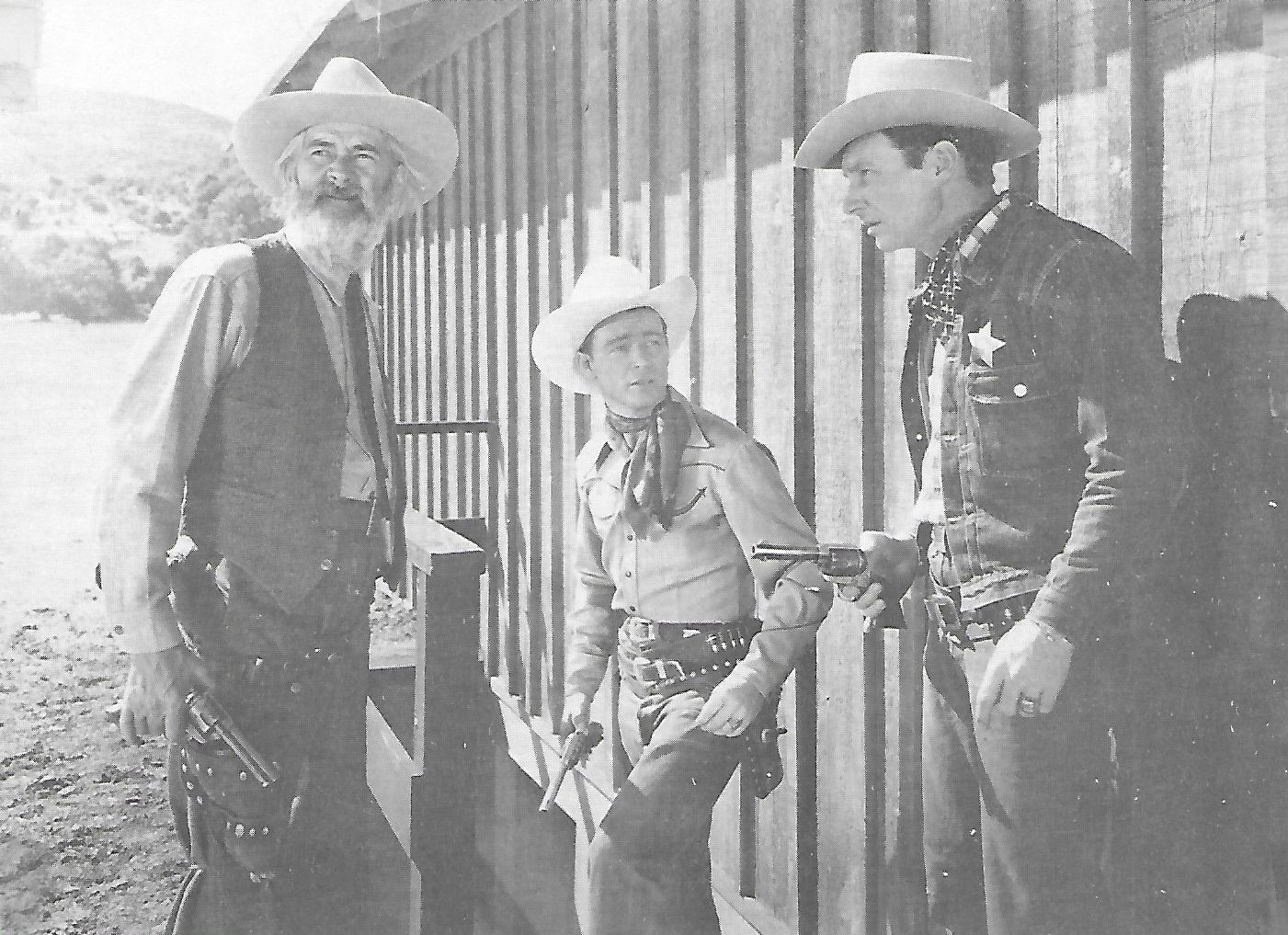 Roy Rogers, Pat Brady, and George 'Gabby' Hayes in Sons of the Pioneers (1942)