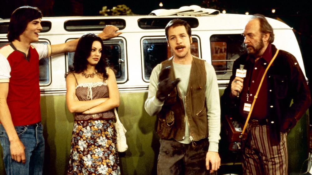 Mila Kunis, Ashton Kutcher, Howard Hesseman, and French Stewart in That '70s Show (1998)