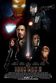 Samuel L. Jackson, Don Cheadle, Robert Downey Jr., Gwyneth Paltrow, Mickey Rourke, Sam Rockwell, Paul Bettany, Clark Gregg, Scarlett Johansson, Garry Shandling, and John Slattery in Iron Man 2 (2010)