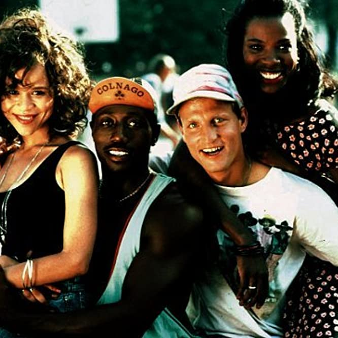 Woody Harrelson, Wesley Snipes, Rosie Perez, and Tyra Ferrell in White Men Can't Jump (1992)