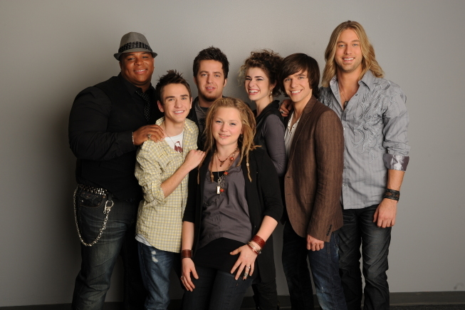 Lee DeWyze, Aaron Kelly, Casey James, Crystal Bowersox, Michael Lynche, Siobhan Magnus, and Tim Urban in American Idol: The Search for a Superstar (2002)