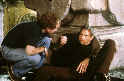 Harrison Ford and Ridley Scott in Blade Runner (1982)