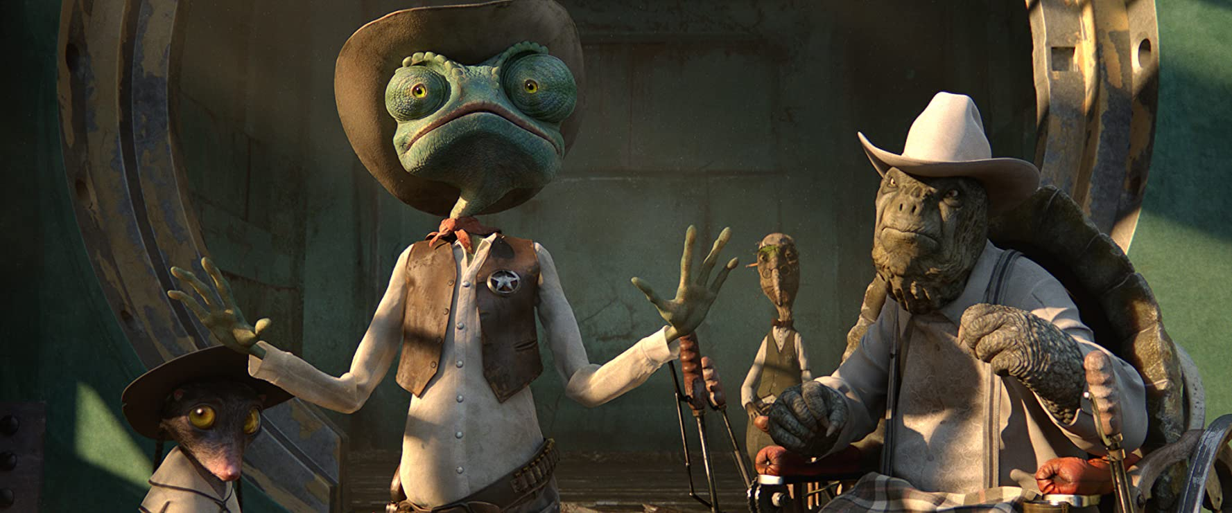 Johnny Depp, Ned Beatty, and Abigail Breslin in Rango (2011)