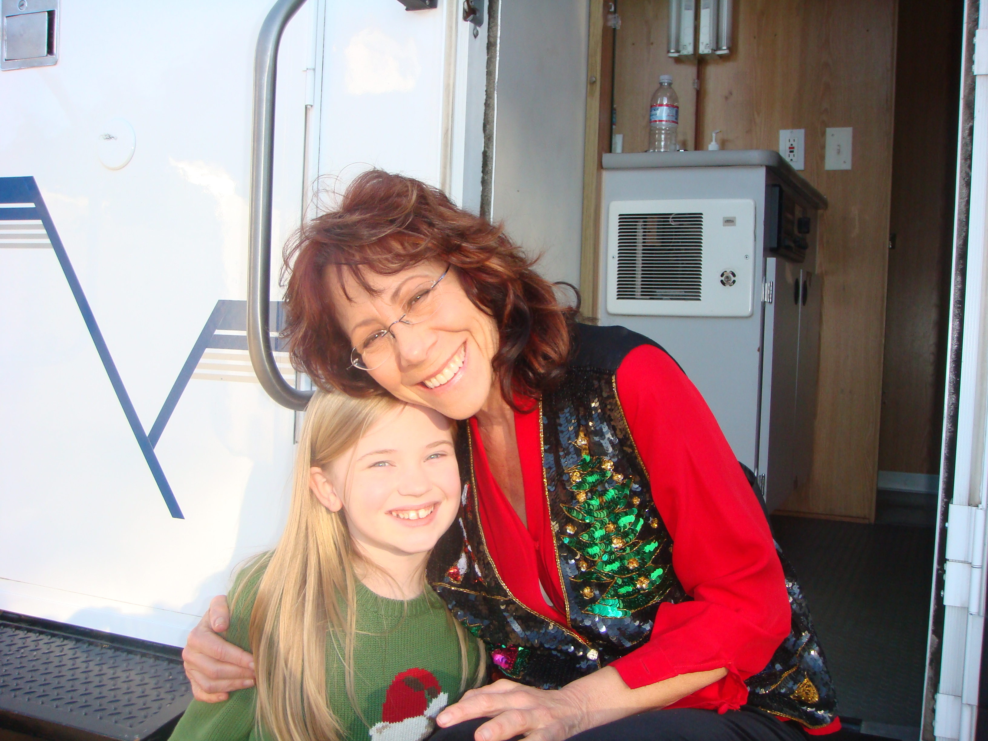Sierra on the set of The Dog Who Saved Christmas with Mindy Sterling