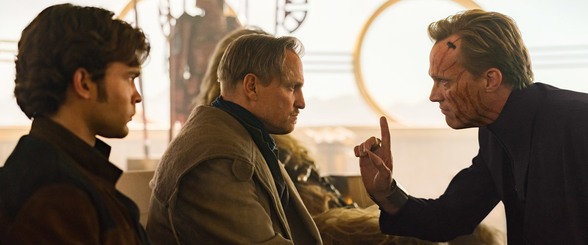 Woody Harrelson, Paul Bettany, and Alden Ehrenreich in Solo: A Star Wars Story (2018)