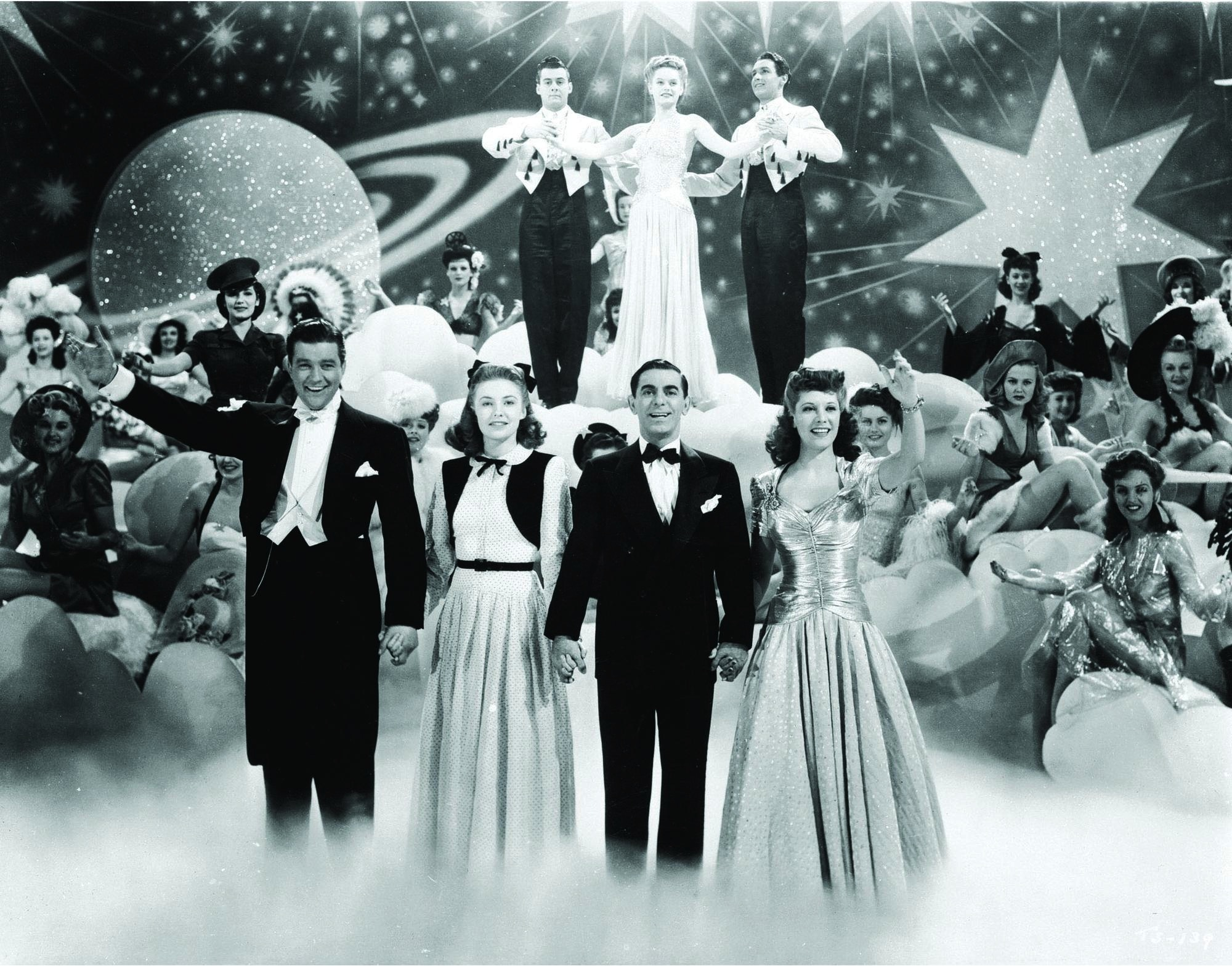 Eddie Cantor, Joan Leslie, Dennis Morgan, and Dinah Shore in Thank Your Lucky Stars (1943)