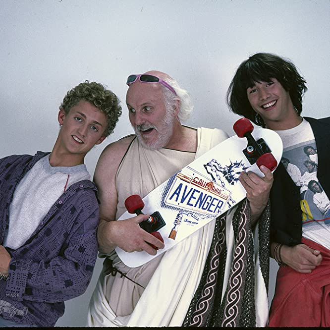 Keanu Reeves, Tony Steedman, and Alex Winter in Bill & Ted's Excellent Adventure (1989)