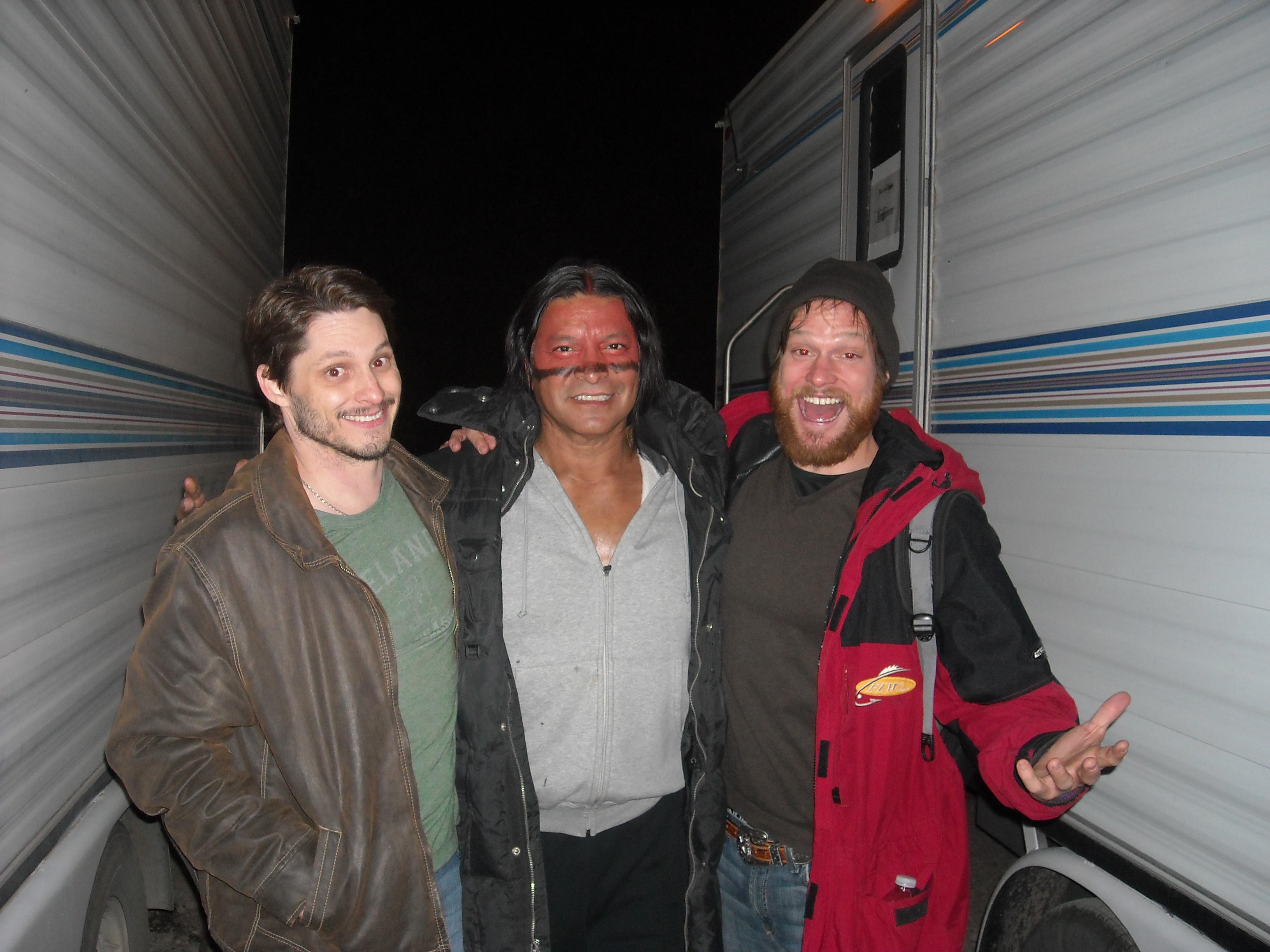 Stephen Brodie, Gil Birmingham, and Will Koberg on set of Disney's The Lone Ranger