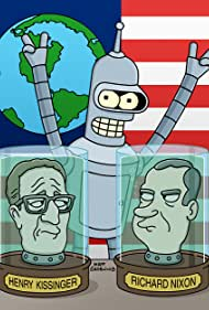 """A newly enlisted Bender, with the aid of Richard Nixon and Henry Kissinger, helps Earth conquer alien enemies in the FUTURAMA season premiere episode """"War is the H-word"""""""