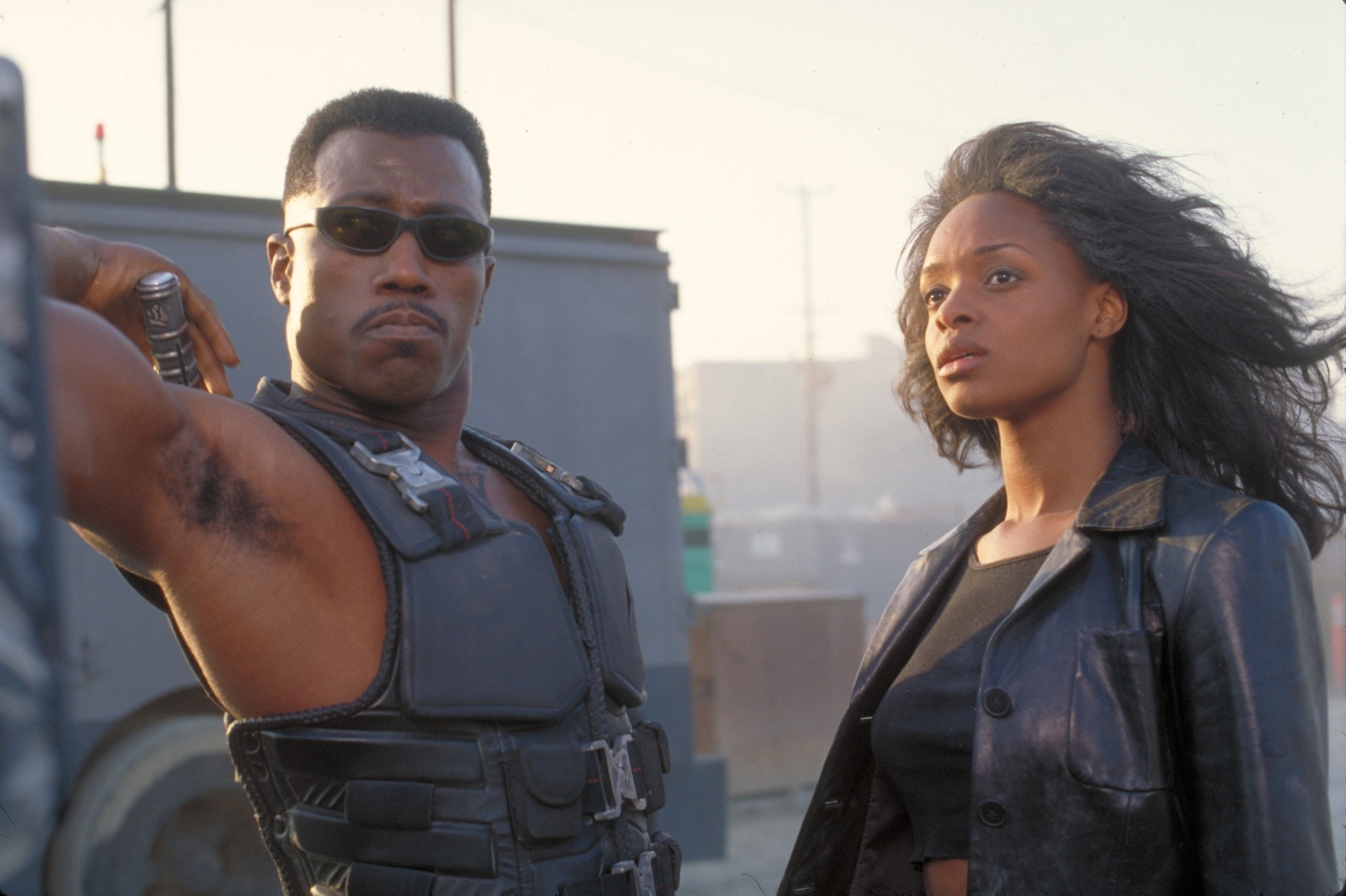 Wesley Snipes and N'Bushe Wright in Blade (1998)