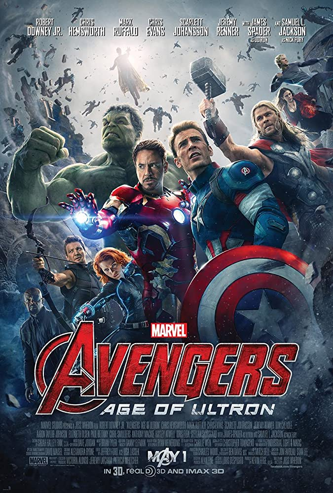 Samuel L. Jackson, Robert Downey Jr., James Spader, Paul Bettany, Chris Evans, Scarlett Johansson, Elizabeth Olsen, Jeremy Renner, Mark Ruffalo, Aaron Taylor-Johnson, and Chris Hemsworth in Avengers: Age of Ultron (2015)