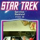 Leonard Nimoy, William Shatner, James Doohan, and Maurishka in Star Trek (1966)