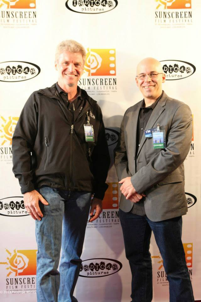 Director Brian Crewe with Producing partner Hugh Aodh O'Brien at the Sunscreen Film Festival, Beach Cities Arclight. October 12, 2013