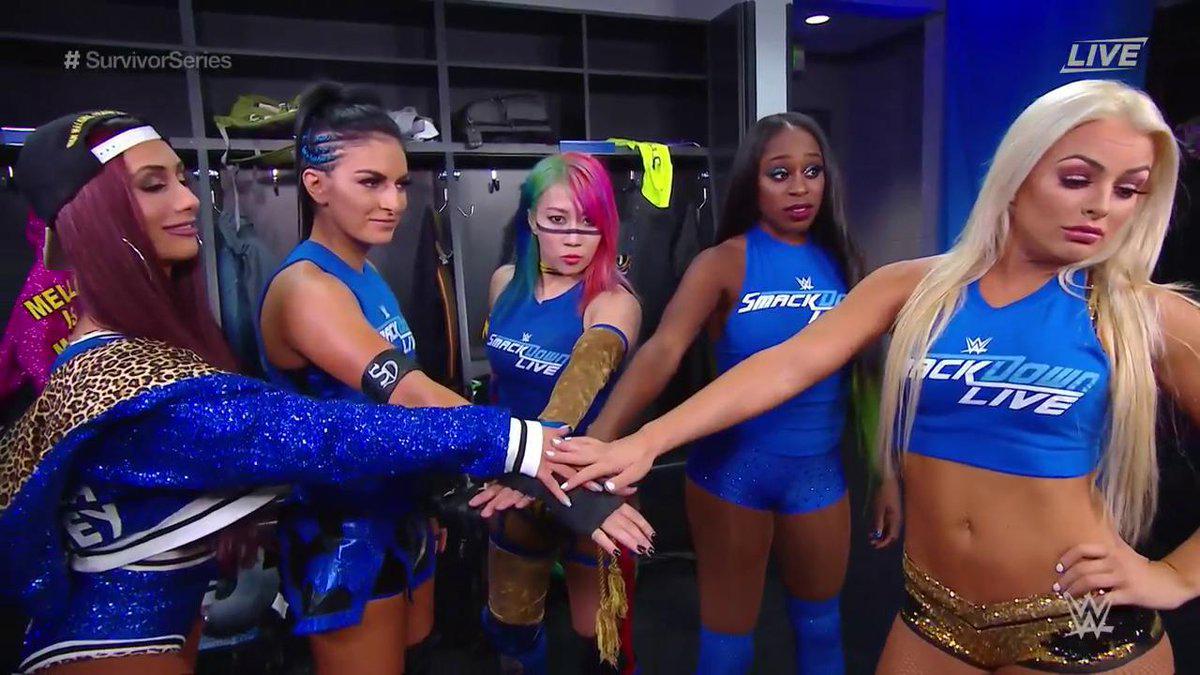 Trinity Fatu, Leah Van Dale, Sarah Bridges, Amanda Saccomanno, and Kanako Urai in WWE Survivor Series (2018)