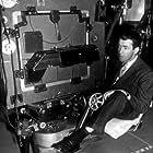 """James Stewart behind the scenes of """"Rope,"""" 1948."""