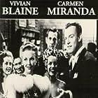 Carmen Miranda, Vivian Blaine, Reed Hadley, Dennis O'Keefe, and Martha Stewart in Doll Face (1945)