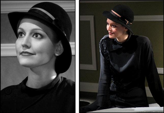 "Actress Liesl Ehardt, portraying her cousin Zita Johann as Helen Grosvenor, in recreation of a scene from the original 1932 version of  ""The Mummy"" in ""Kreating Karloff."""