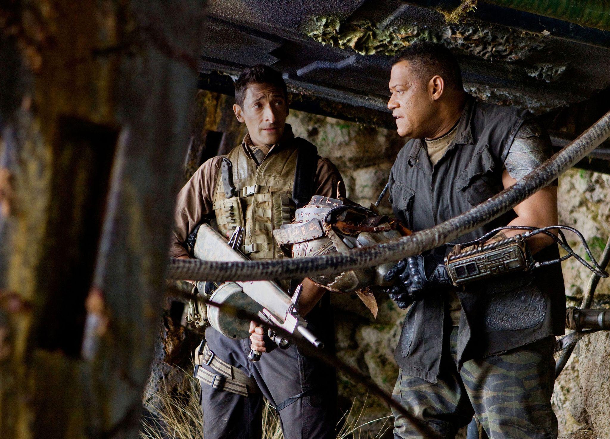 Laurence Fishburne and Adrien Brody in Predators (2010)