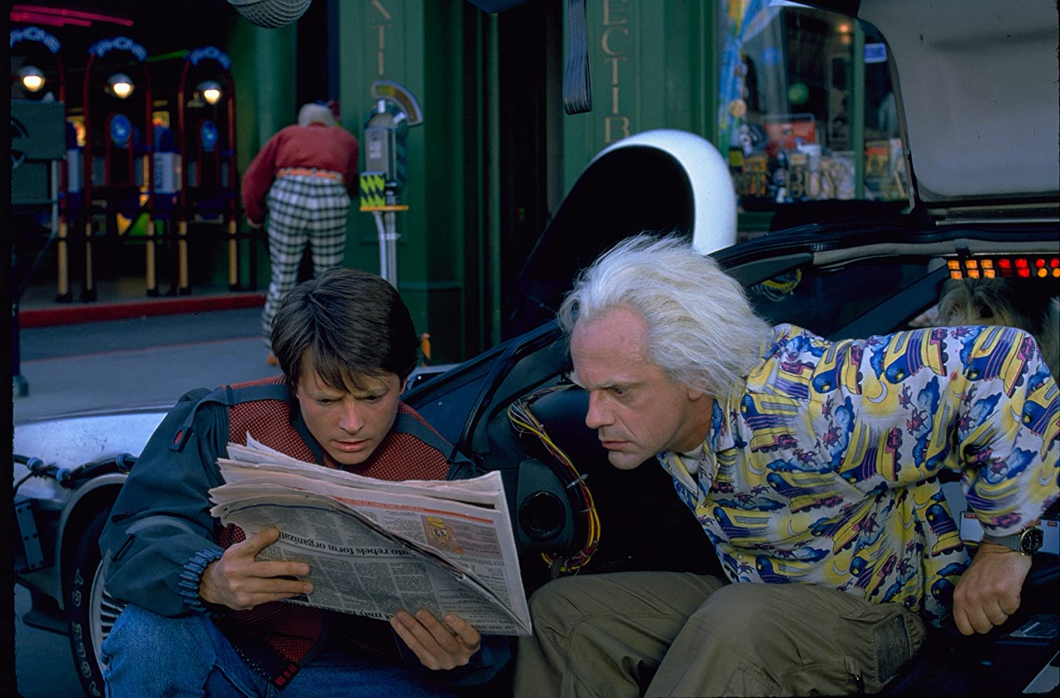 Michael J. Fox, Christopher Lloyd, and Thomas F. Wilson in Back to the Future Part II (1989)