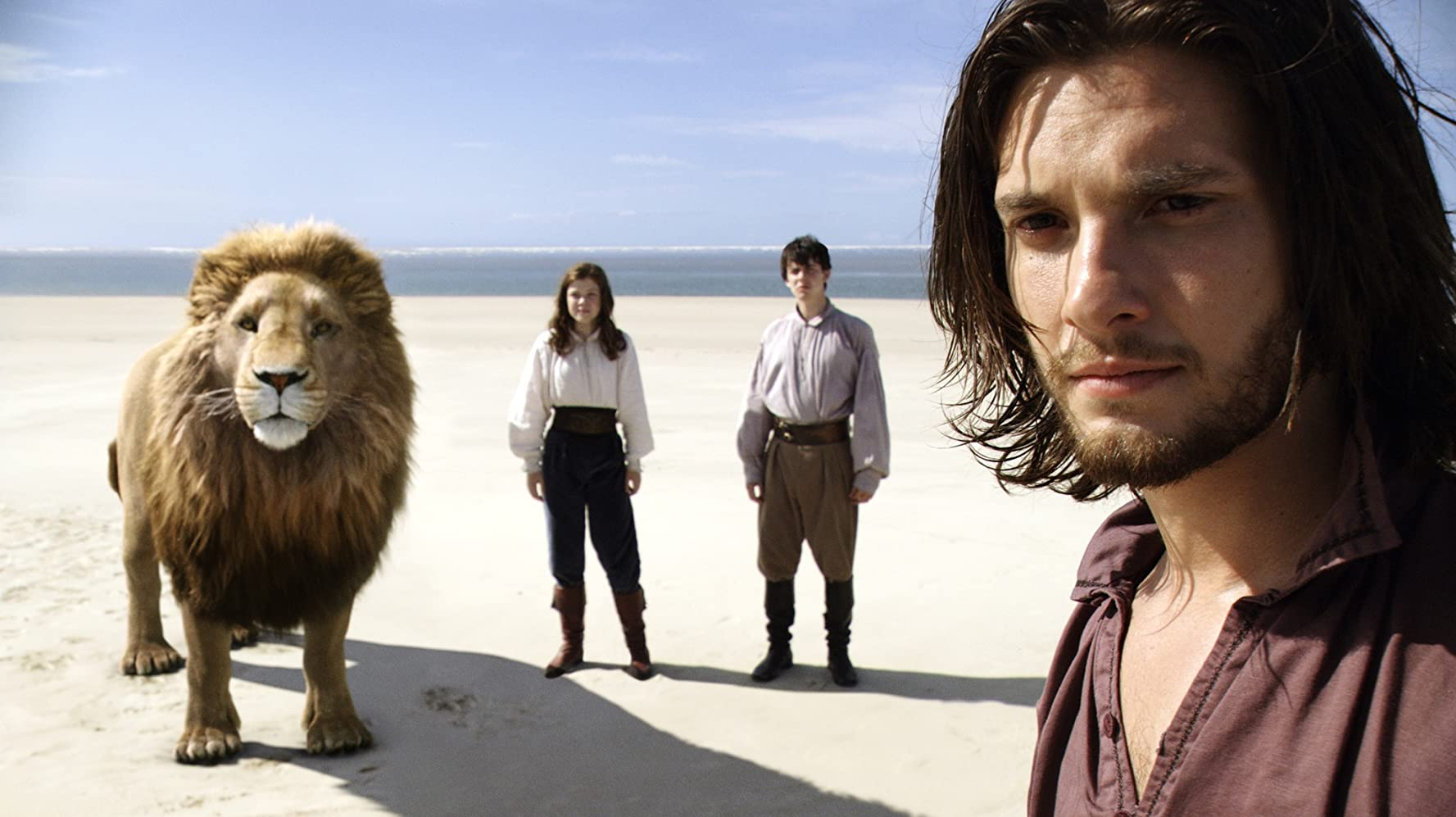 Skandar Keynes, Ben Barnes, and Georgie Henley in The Chronicles of Narnia: The Voyage of the Dawn Treader (2010)