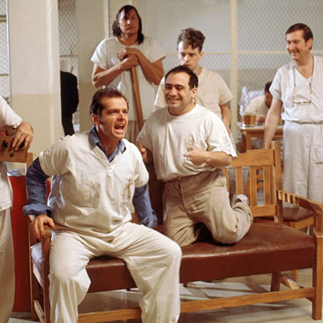 Jack Nicholson, Danny DeVito, Brad Dourif, William Redfield, Will Sampson, and Delos V. Smith Jr. in One Flew Over the Cuckoo's Nest (1975)
