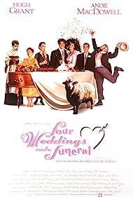 Rowan Atkinson, Kristin Scott Thomas, Hugh Grant, Andie MacDowell, Simon Callow, John Hannah, and Charlotte Coleman in Four Weddings and a Funeral (1994)