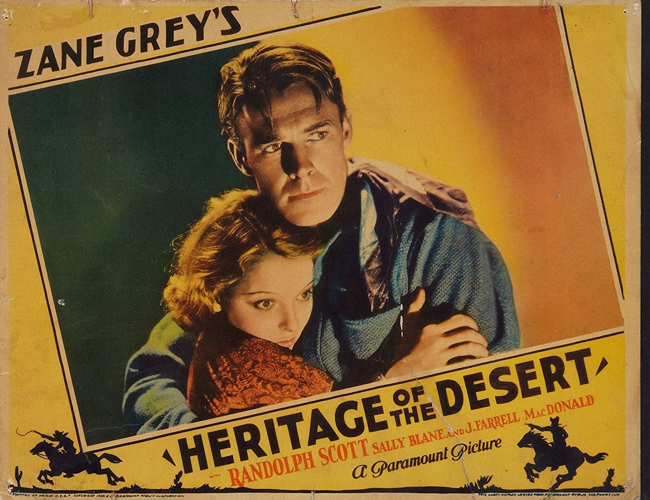 Randolph Scott and Sally Blane in Heritage of the Desert (1932)