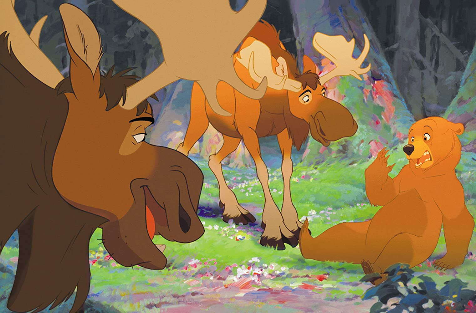 Rick Moranis, Joaquin Phoenix, and Dave Thomas in Disney's Brother Bear (2003)