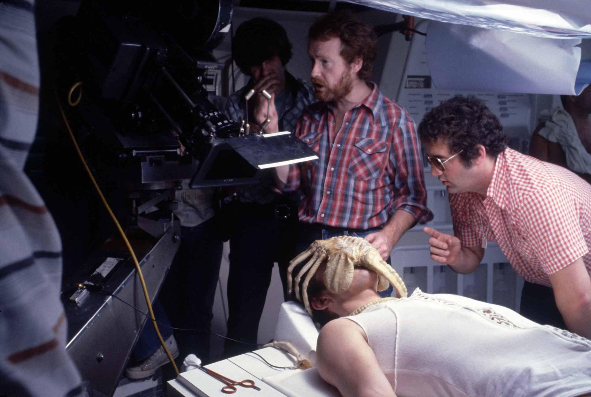 John Hurt and Ridley Scott in Alien (1979)