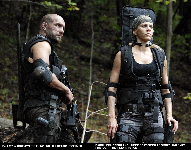 Darrin Dickerson (L) and Jaimee Gray Simon (R) as Smoke and Snipe.
