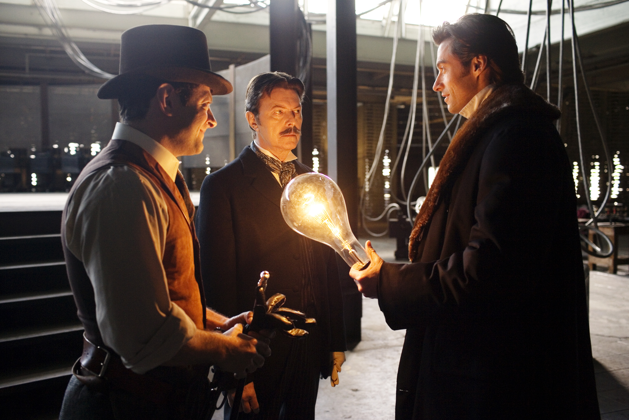 David Bowie, Hugh Jackman, and Andy Serkis in The Prestige (2006)