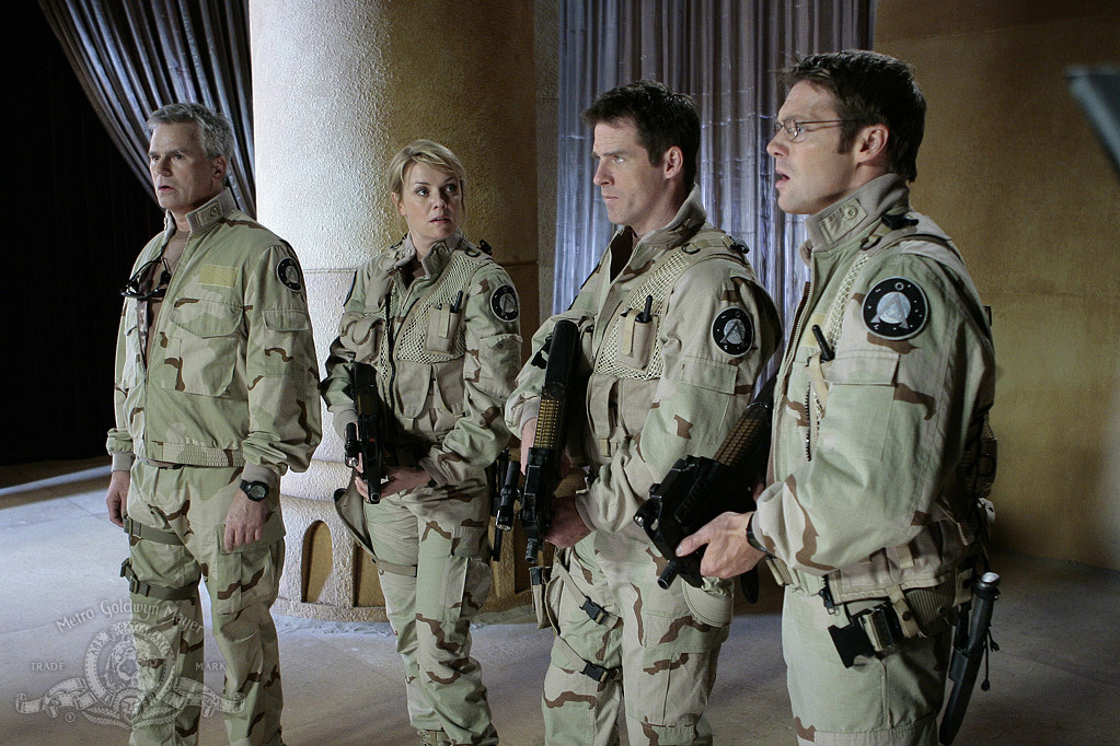 Richard Dean Anderson, Ben Browder, Michael Shanks, and Amanda Tapping in Stargate: Continuum (2008)