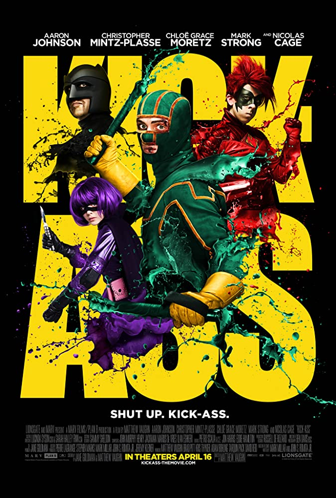 Nicolas Cage, Aaron Taylor-Johnson, Chloë Grace Moretz, and Christopher Mintz-Plasse in Kick-Ass (2010)