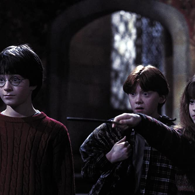 Rupert Grint, Daniel Radcliffe, and Emma Watson in Harry Potter and the Sorcerer's Stone (2001)