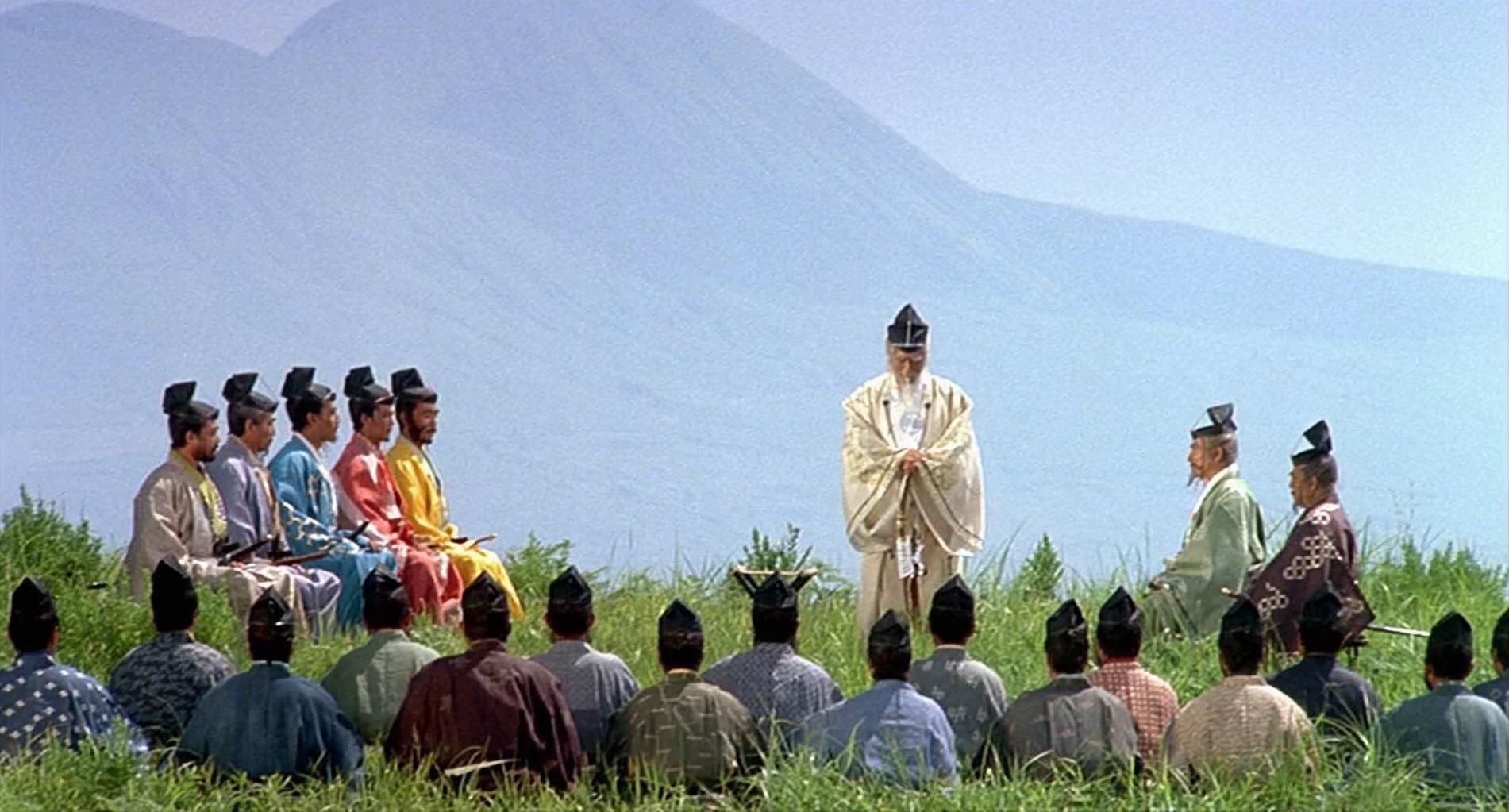 Kazuo Katô, Tatsuya Nakadai, Jinpachi Nezu, Daisuke Ryû, Jun Tazaki, Akira Terao, Hitoshi Ueki, and Masayuki Yui in Ran (1985)