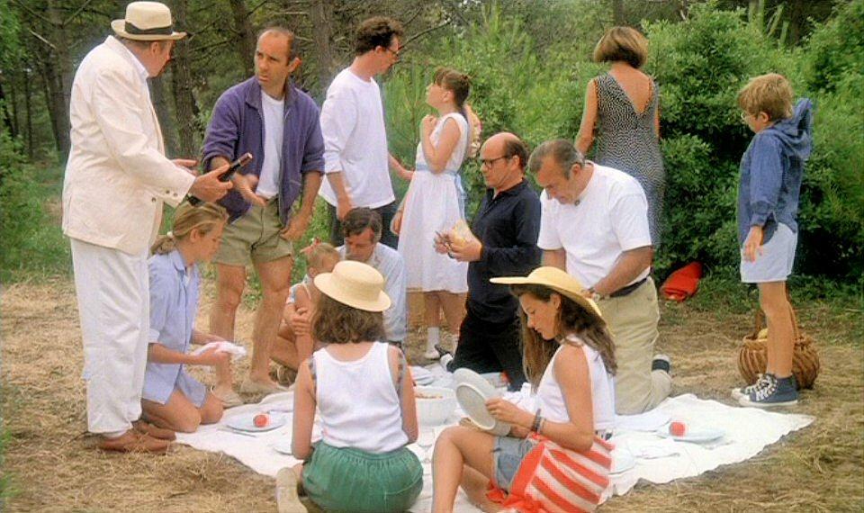 Daniel Ceccaldi, Vanessa Guedj, Alexandra London, Michel Robin, Jean-François Stévenin, and Clément Thomas in Les maris, les femmes, les amants (1989)