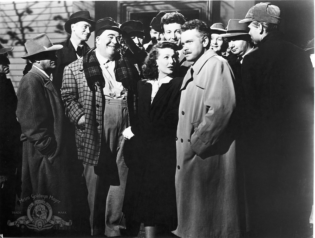 Orson Welles, Billy House, Philip Merivale, Martha Wentworth, and Loretta Young in The Stranger (1946)