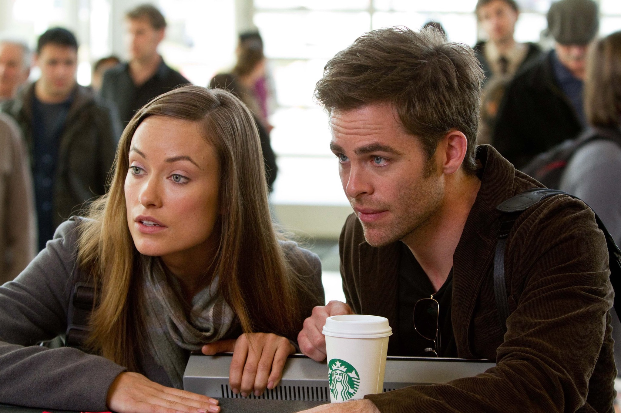 Olivia Wilde and Chris Pine in People Like Us (2012)