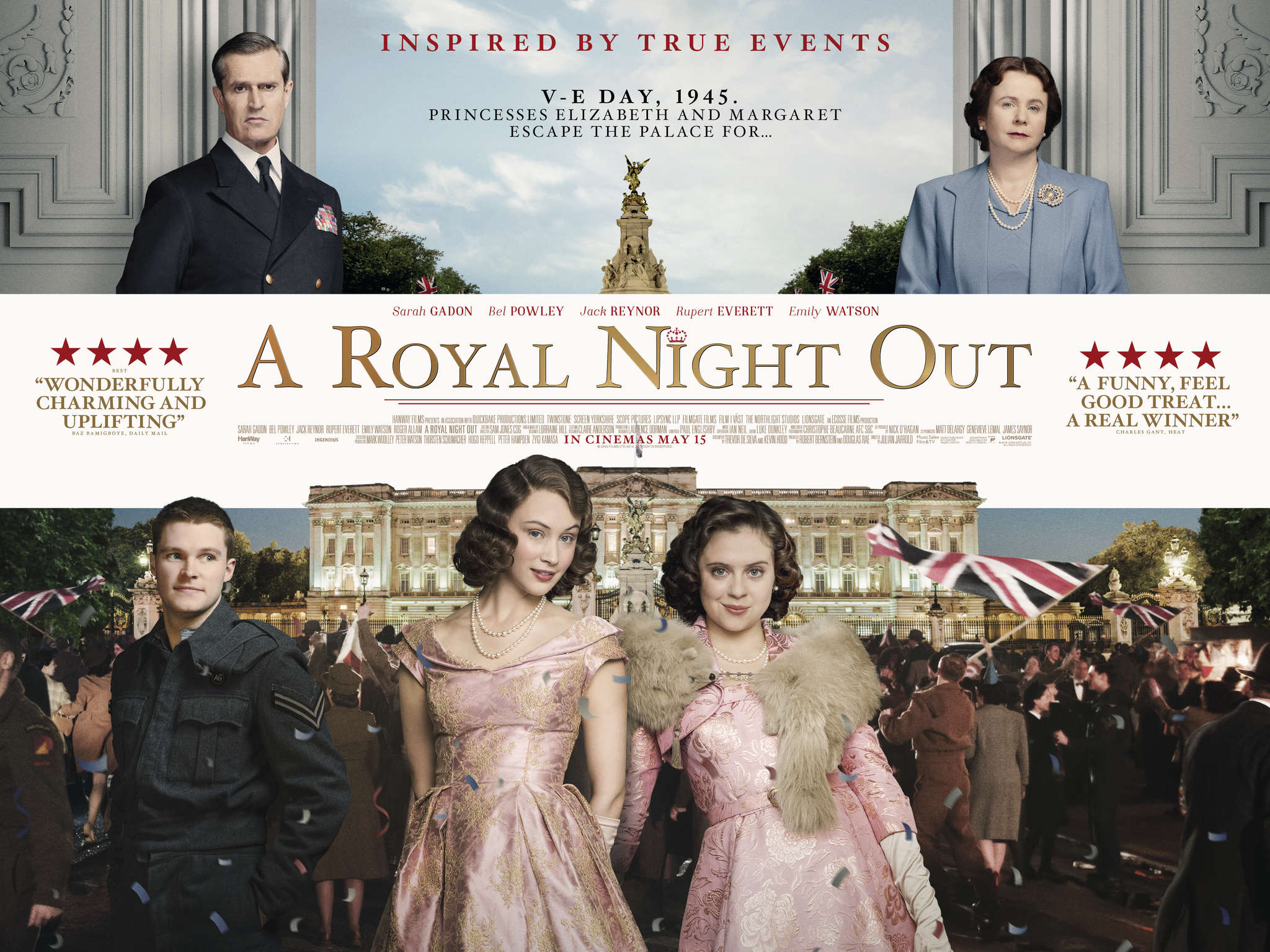 Rupert Everett, Emily Watson, Sarah Gadon, Bel Powley, and Jack Reynor in A Royal Night Out (2015)