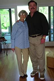 Pat McNeely as victim Marjorie Nugent and John Richard Petersen as killer Bernie Tiede on the set of STRANGE FELONY FILES