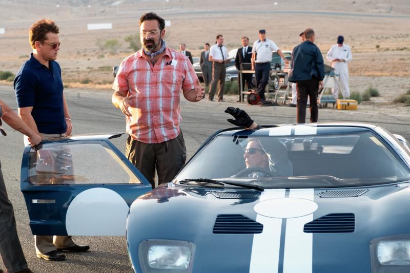 Christian Bale, Matt Damon, and James Mangold in Ford v Ferrari (2019)